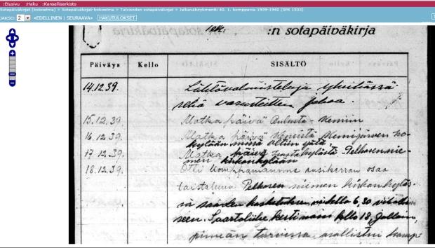 Kuvakaappaus talvisodan jalkaväkirykmentti 40:n, 1. pataljoonan (I/JR 40) sotapäiväkirjasta Kansallisarkiston digitaaliarkistossa. Pappani taisteli 1/JR 40:ssä.