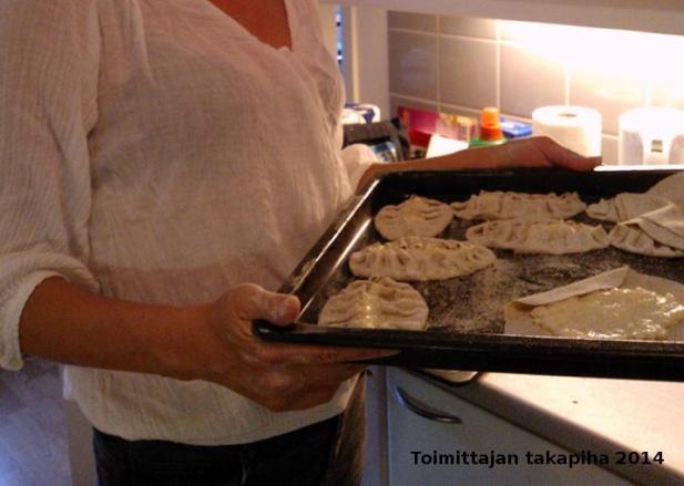 Voici des tartes en préparation. Le porridge ne doit pas couvrir